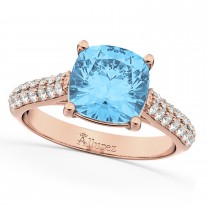 Cushion Cut Blue Topaz & Diamond Ring 18k Rose Gold (4.42ct)