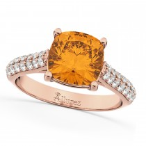 Cushion Cut Citrine & Diamond Ring 14k Rose Gold (4.42ct)