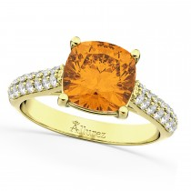 Cushion Cut Citrine & Diamond Ring 14k Yellow Gold (4.42ct)