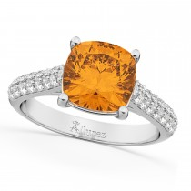 Cushion Cut Citrine & Diamond Ring 18k White Gold (4.42ct)
