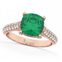 Cushion Cut Emerald & Diamond Engagement Ring 14k Rose Gold (4.42ct)