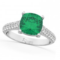 Cushion Cut Emerald & Diamond Engagement Ring 14k White Gold (4.42ct)