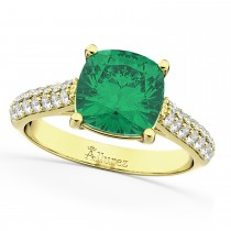 Cushion Cut Emerald & Diamond Engagement Ring 14k Yellow Gold (4.42ct)