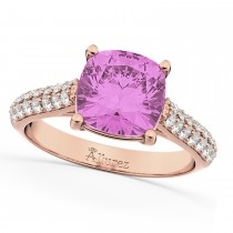 Cushion Cut Pink Sapphire & Diamond Ring 14k Rose Gold (4.42ct)
