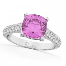 Cushion Cut Pink Sapphire & Diamond Ring 14k White Gold (4.42ct)