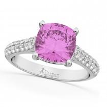 Cushion Cut Pink Sapphire & Diamond Ring 14k White Gold (4.42ct)