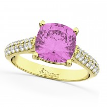 Cushion Cut Pink Sapphire & Diamond Ring 18k Yellow Gold (4.42ct)