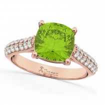Cushion Cut Peridot & Diamond Ring 14k Rose Gold (4.42ct)