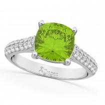 Cushion Cut Peridot & Diamond Ring 14k White Gold (4.42ct)