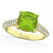 Cushion Cut Peridot & Diamond Ring 18k Yellow Gold (4.42ct)
