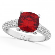 Cushion Cut Ruby & Diamond Engagement Ring 14k White Gold (4.42ct)