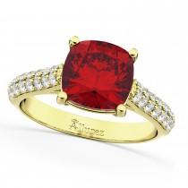 Cushion Cut Ruby & Diamond Engagement Ring 14k Yellow Gold (4.42ct)