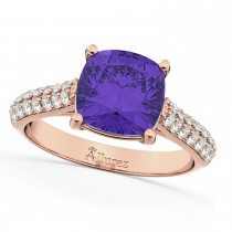 Cushion Cut Tanzanite & Diamond Ring 14k Rose Gold (4.42ct)