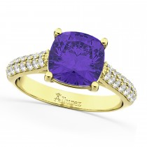 Cushion Cut Tanzanite & Diamond Ring 18k Yellow Gold (4.42ct)