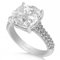 Cushion Cut White Topaz & Diamond Engagement Ring 14k White Gold (4.42ct)