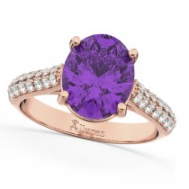 Oval Amethyst & Diamond Engagement Ring 14k Rose Gold (4.42ct)