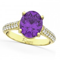Oval Amethyst & Diamond Engagement Ring 14k Yellow Gold (4.42ct)