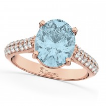 Oval Aquamarine & Diamond Engagement Ring 14k Rose Gold (4.42ct)