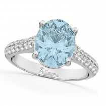 Oval Aquamarine & Diamond Engagement Ring 14k White Gold (4.42ct)