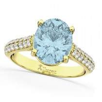 Oval Aquamarine & Diamond Engagement Ring 18k Yellow Gold (4.42ct)