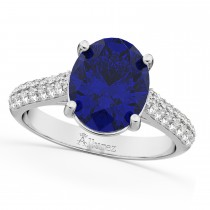 Oval Blue Sapphire & Diamond Engagement Ring 18k White Gold (4.42ct)