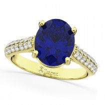 Oval Blue Sapphire & Diamond Engagement Ring 18k Yellow Gold (4.42ct)