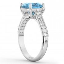 Oval Blue Topaz & Diamond Engagement Ring 14k White Gold (4.42ct)