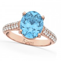 Oval Blue Topaz & Diamond Engagement Ring 18k Rose Gold (4.42ct)