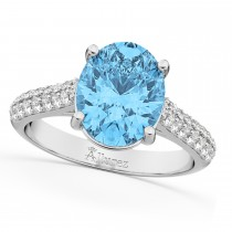 Oval Blue Topaz & Diamond Engagement Ring 18k White Gold (4.42ct)