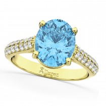 Oval Blue Topaz & Diamond Engagement Ring 18k Yellow Gold (4.42ct)