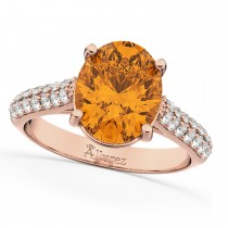 Oval Citrine & Diamond Engagement Ring 14k Rose Gold (4.42ct)