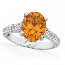 Oval Citrine & Diamond Engagement Ring 14k White Gold (4.42ct)