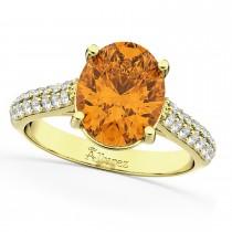 Oval Citrine & Diamond Engagement Ring 18k Yellow Gold (4.42ct)