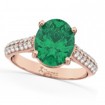Oval Emerald & Diamond Engagement Ring 14k Rose Gold (4.42ct)