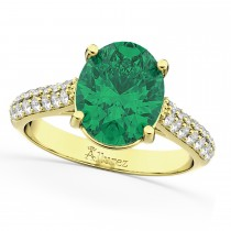 Oval Emerald & Diamond Engagement Ring 18k Yellow Gold (4.42ct)