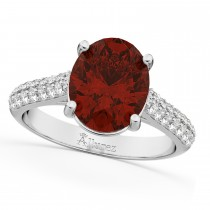 Oval Garnet & Diamond Engagement Ring 14k White Gold (4.42ct)