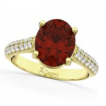 Oval Garnet & Diamond Engagement Ring 14k Yellow Gold (4.42ct)
