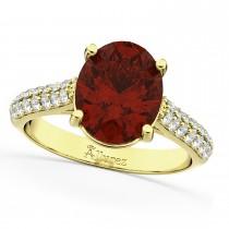 Oval Garnet & Diamond Engagement Ring 18k Yellow Gold (4.42ct)