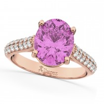 Oval Pink Sapphire & Diamond Engagement Ring 14k Rose Gold (4.42ct)