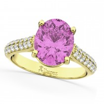 Oval Pink Sapphire & Diamond Engagement Ring 14k Yellow Gold (4.42ct)