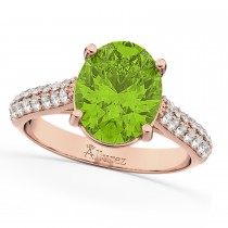 Oval Peridot & Diamond Engagement Ring 14k Rose Gold (4.42ct)