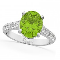 Oval Peridot & Diamond Engagement Ring 18k White Gold (4.42ct)