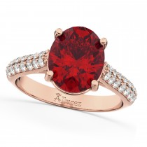 Oval Ruby & Diamond Engagement Ring 14k Rose Gold (4.42ct)