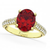Oval Ruby & Diamond Engagement Ring 18k Yellow Gold (4.42ct)