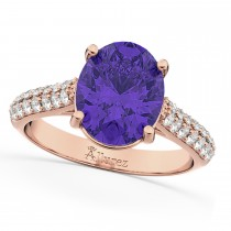 Oval Tanzanite & Diamond Engagement Ring 14k Rose Gold (4.42ct)
