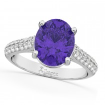 Oval Tanzanite & Diamond Engagement Ring 14k White Gold (4.42ct)