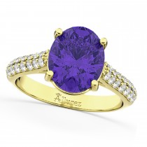 Oval Tanzanite & Diamond Engagement Ring 14k Yellow Gold (4.42ct)