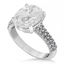Oval White Topaz & Diamond Engagement Ring 14k White Gold (4.42ct)