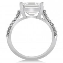Oval White Topaz & Diamond Engagement Ring 14k White Gold (4.42ct)