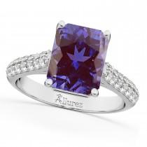 Emerald-Cut Lab Alexandrite & Diamond Engagement Ring 14k White Gold (5.54ct)